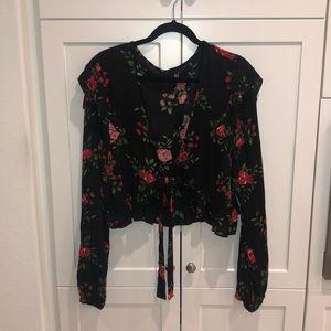 Black rose, floral, tie front, crop top.